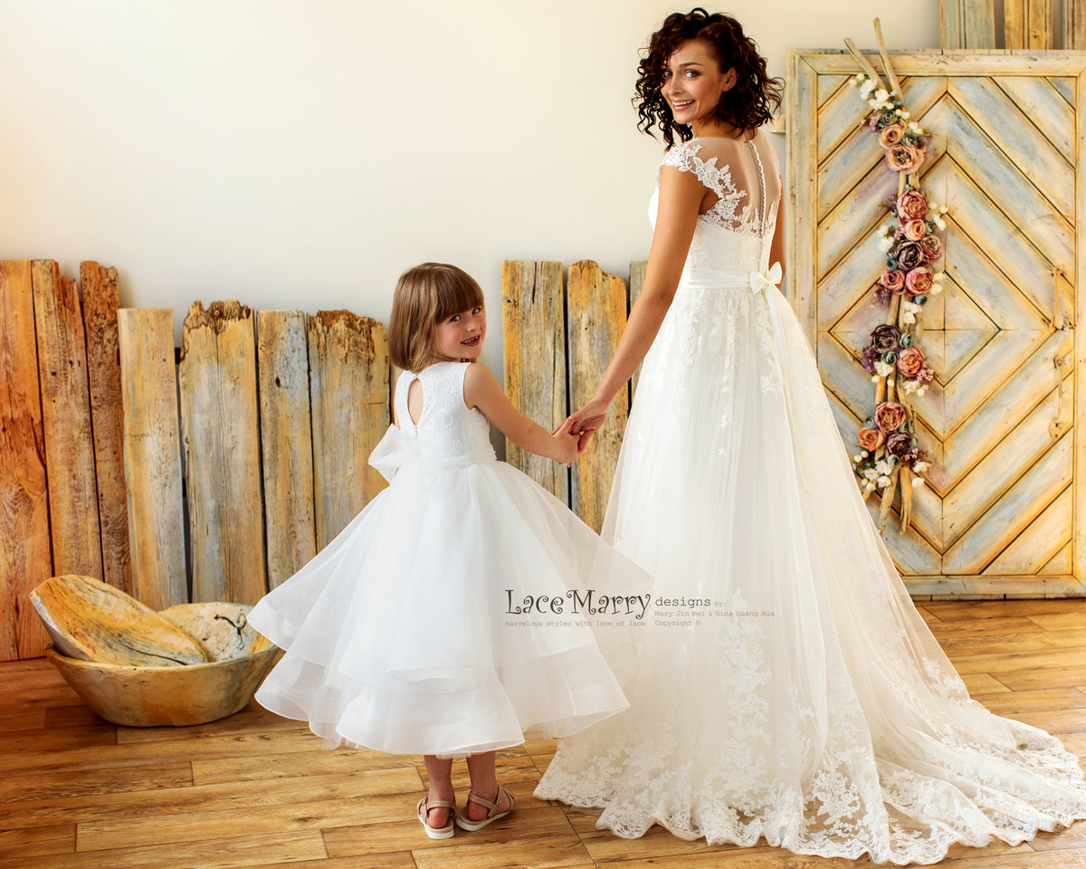Puffy Flower Girl Dress with Layered Skirt