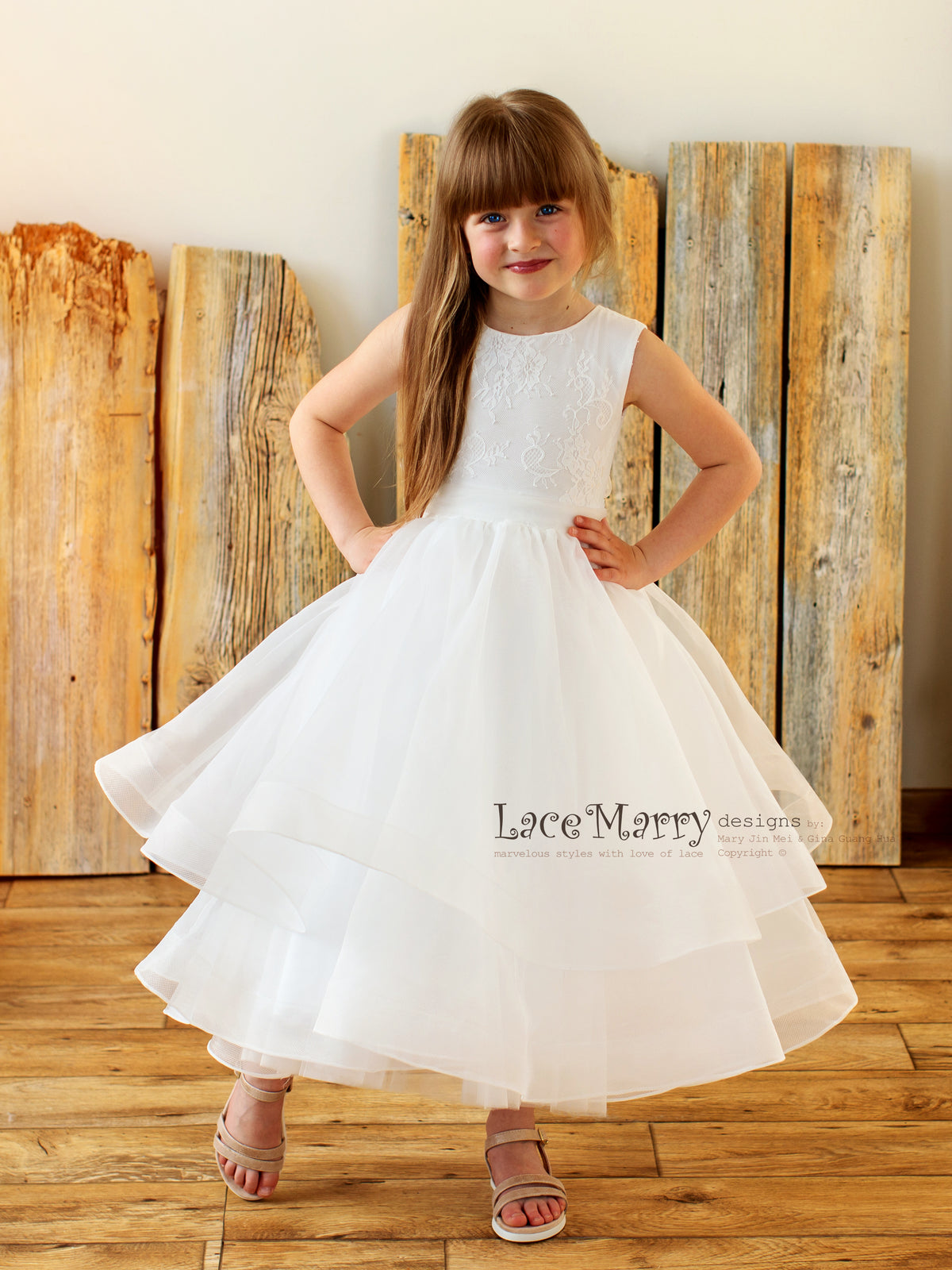 Lace Flower Girl Dress with A Line Skirt