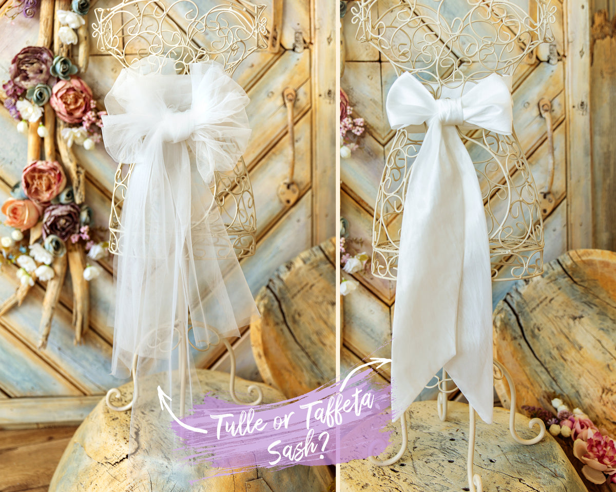 Tulle and Taffeta Sash with Big Bow