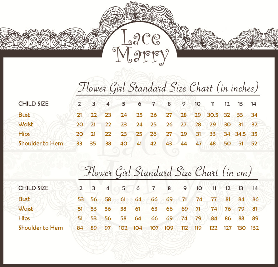 LaceMarry Flower Girl Size Chart