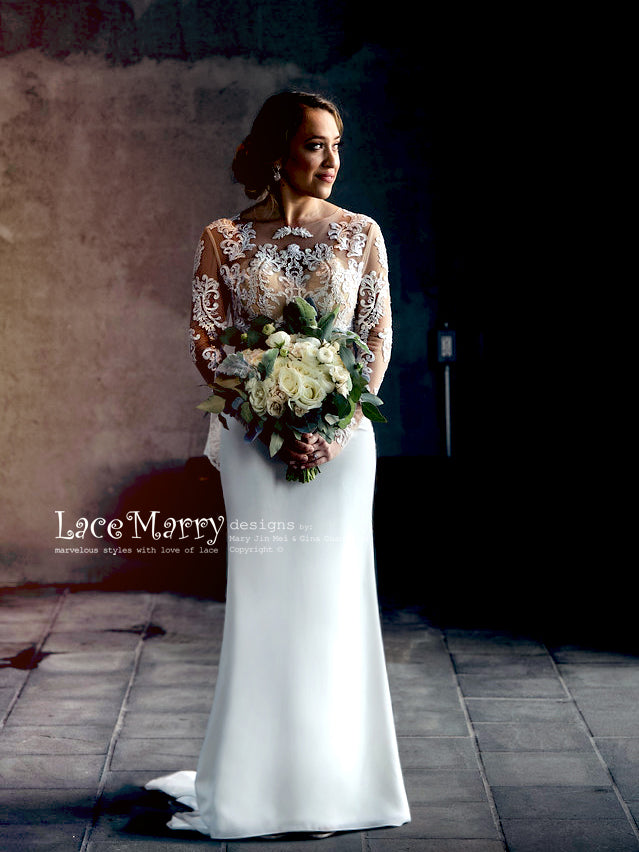 Boho Wedding Dress with Long Sleeves
