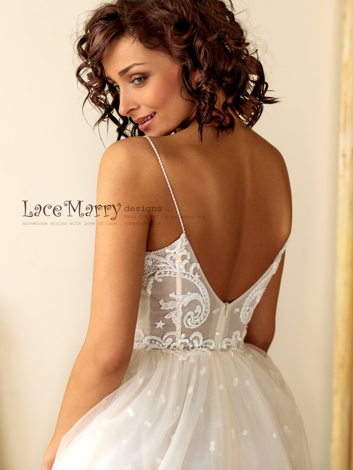 Summer Wedding Dress with Thin Straps