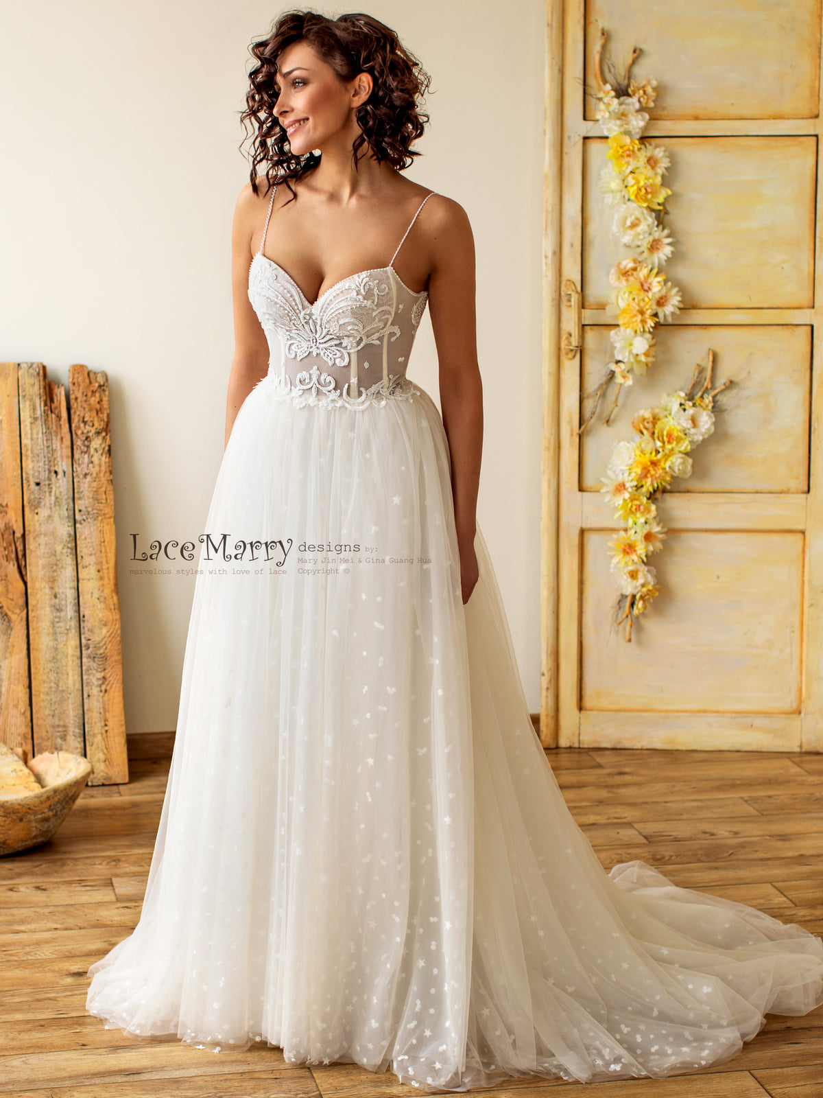 Bustier Wedding Dress with Gorgeous Beading Detail