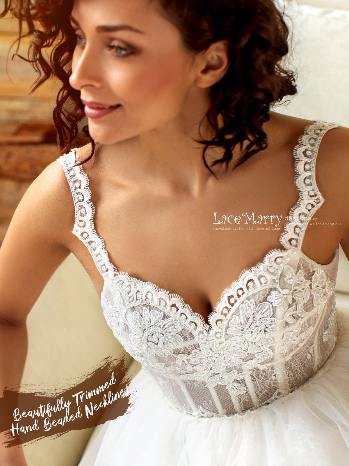 Beaded Wedding Dress with Lace Straps