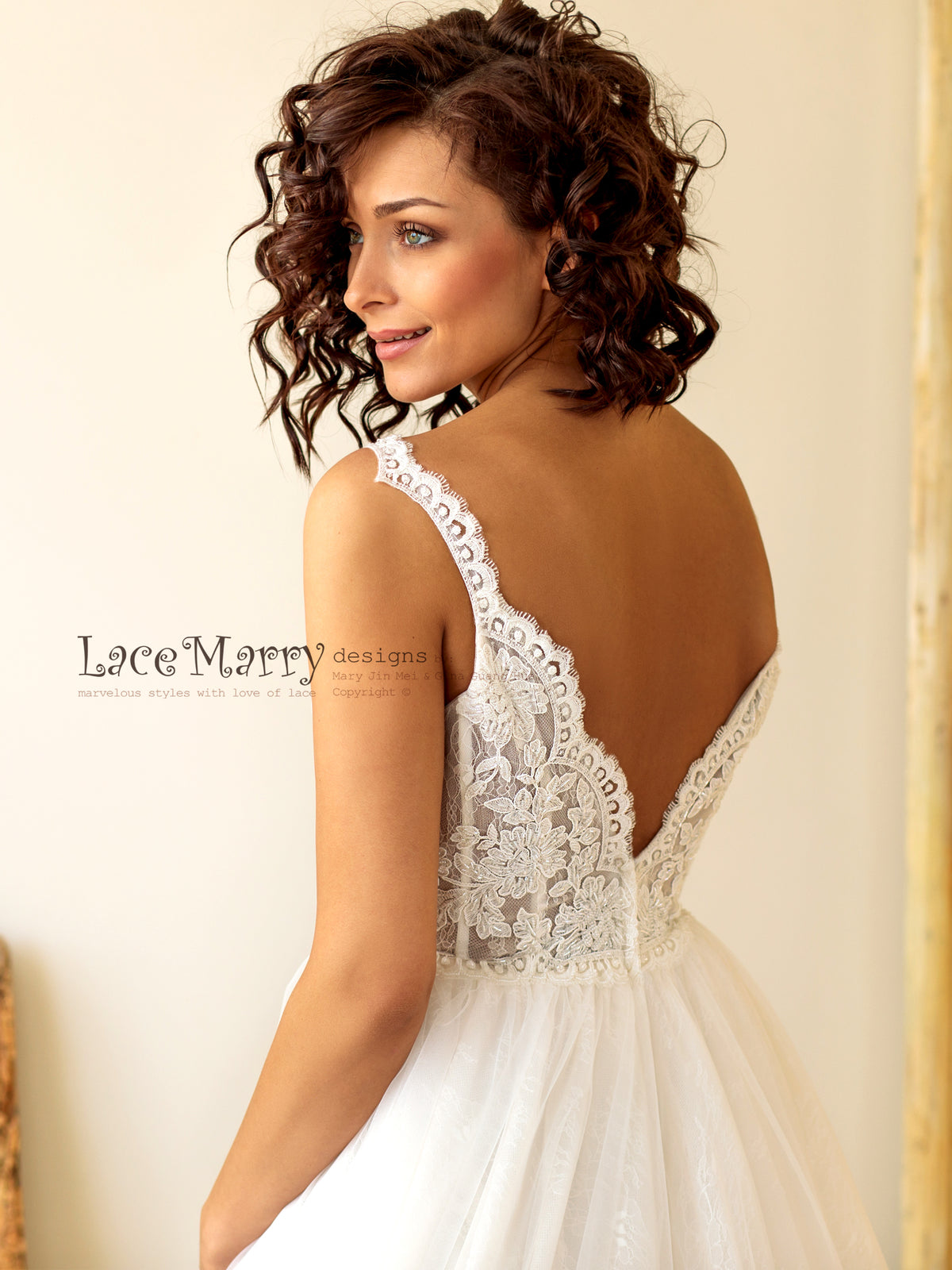 Beaded V Cut Back Wedding Dress