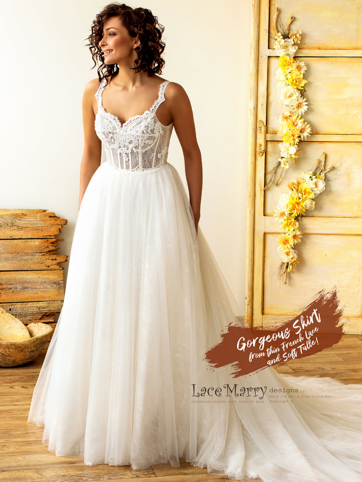 Princess Tulle Wedding Dress with Straps