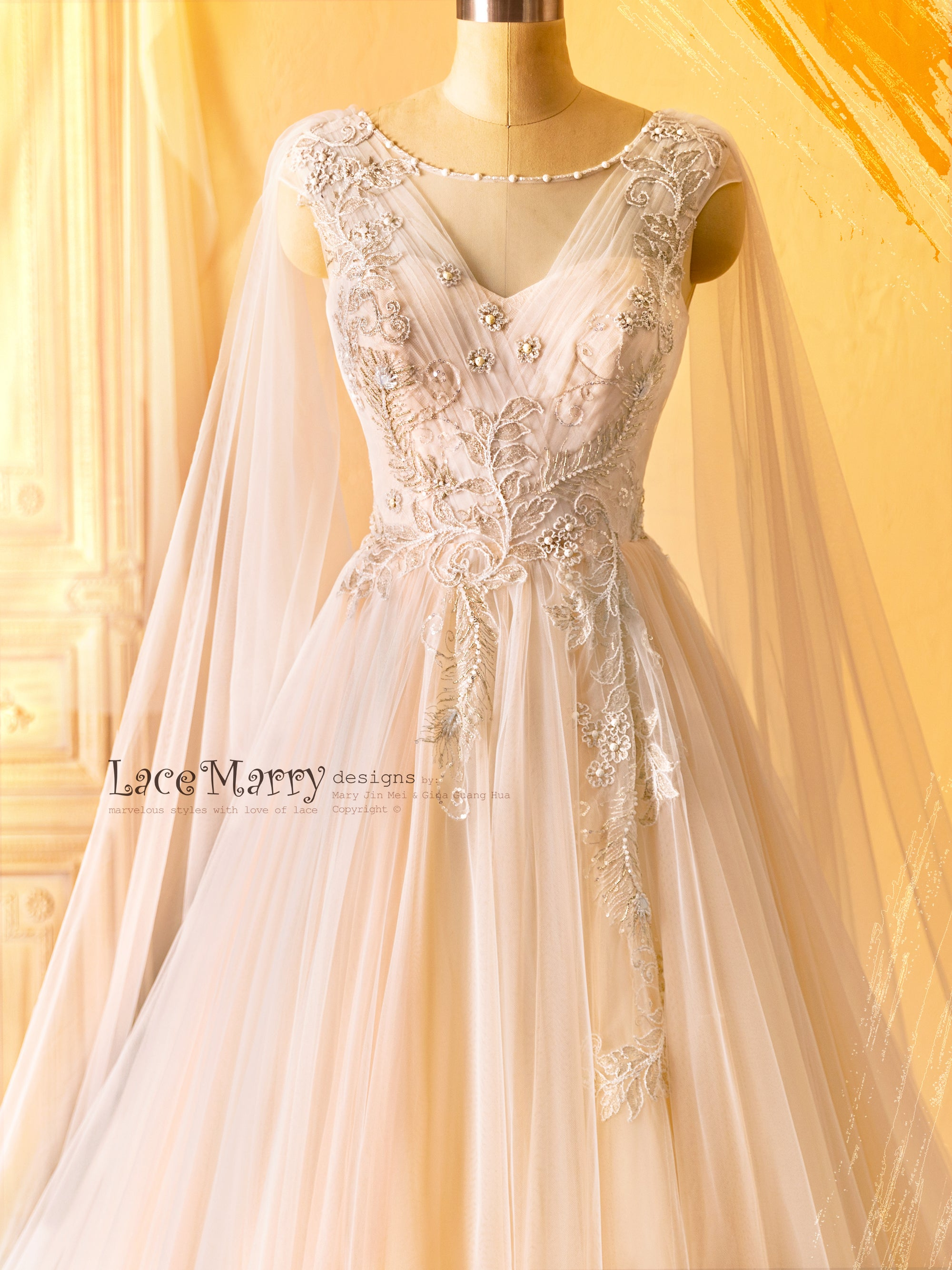 Fairytale Wedding Dress with Tulle Cape Sleeves