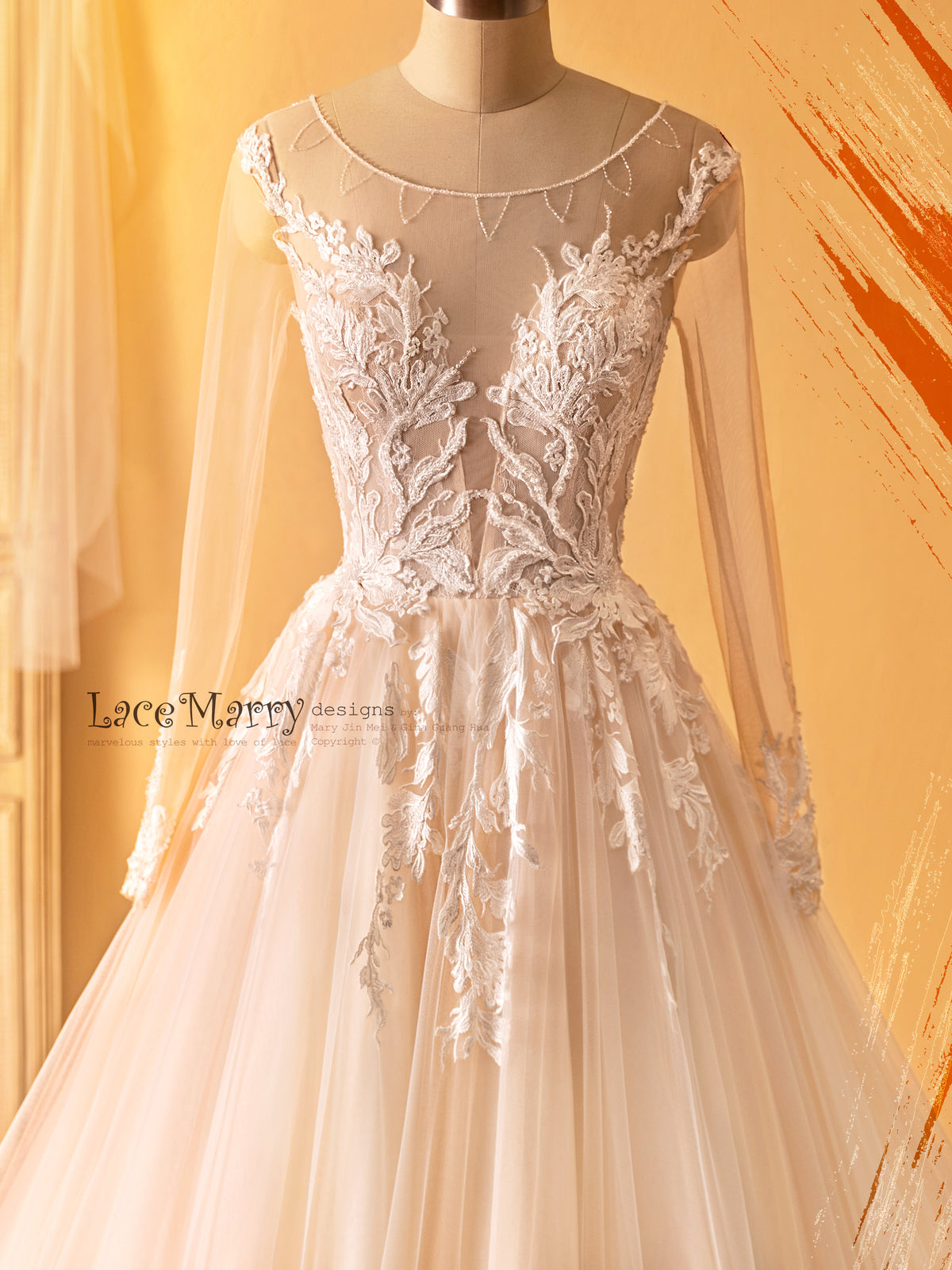 Long Sleeve Wedding Dress with Amazing Flower Appliques and Beading