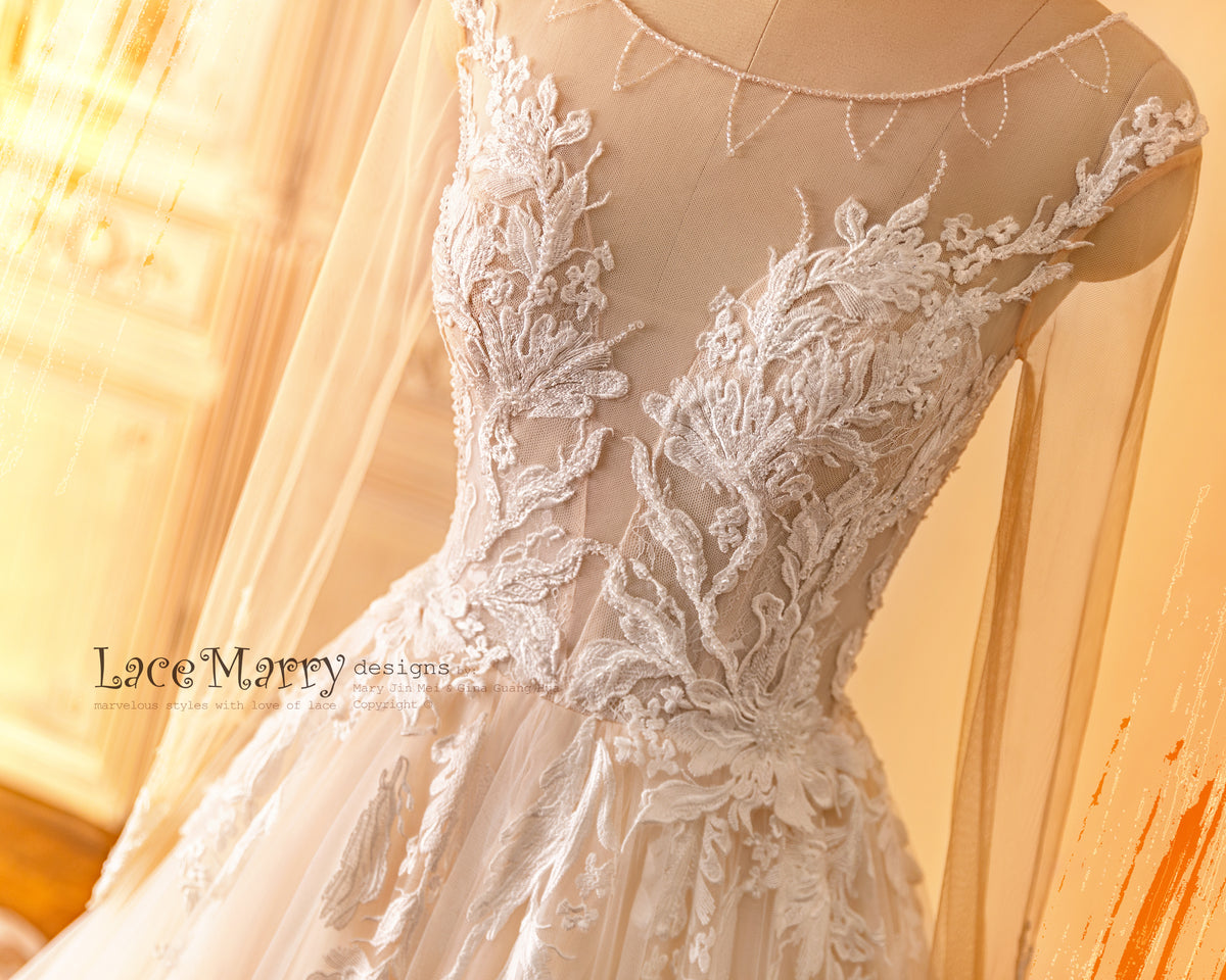 Sexy Wedding Dress with Lace and Beading