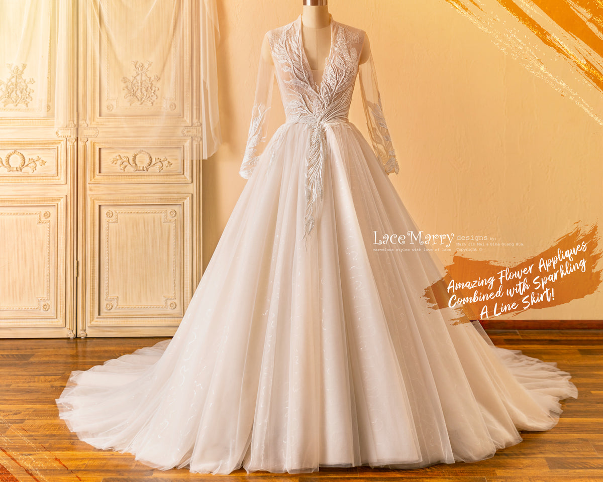 A Line Wedding Dress with Long Sleeves