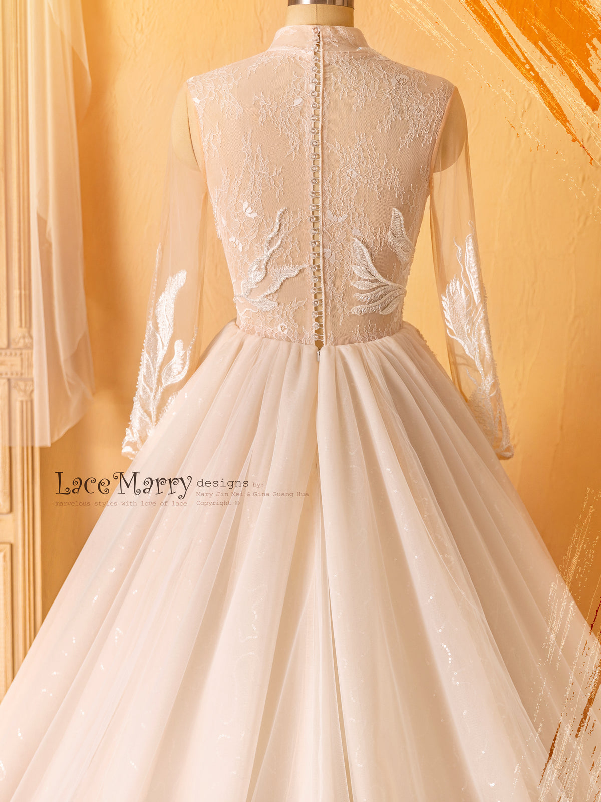 Full Lace Back Wedding Dress with Crystal Buttons