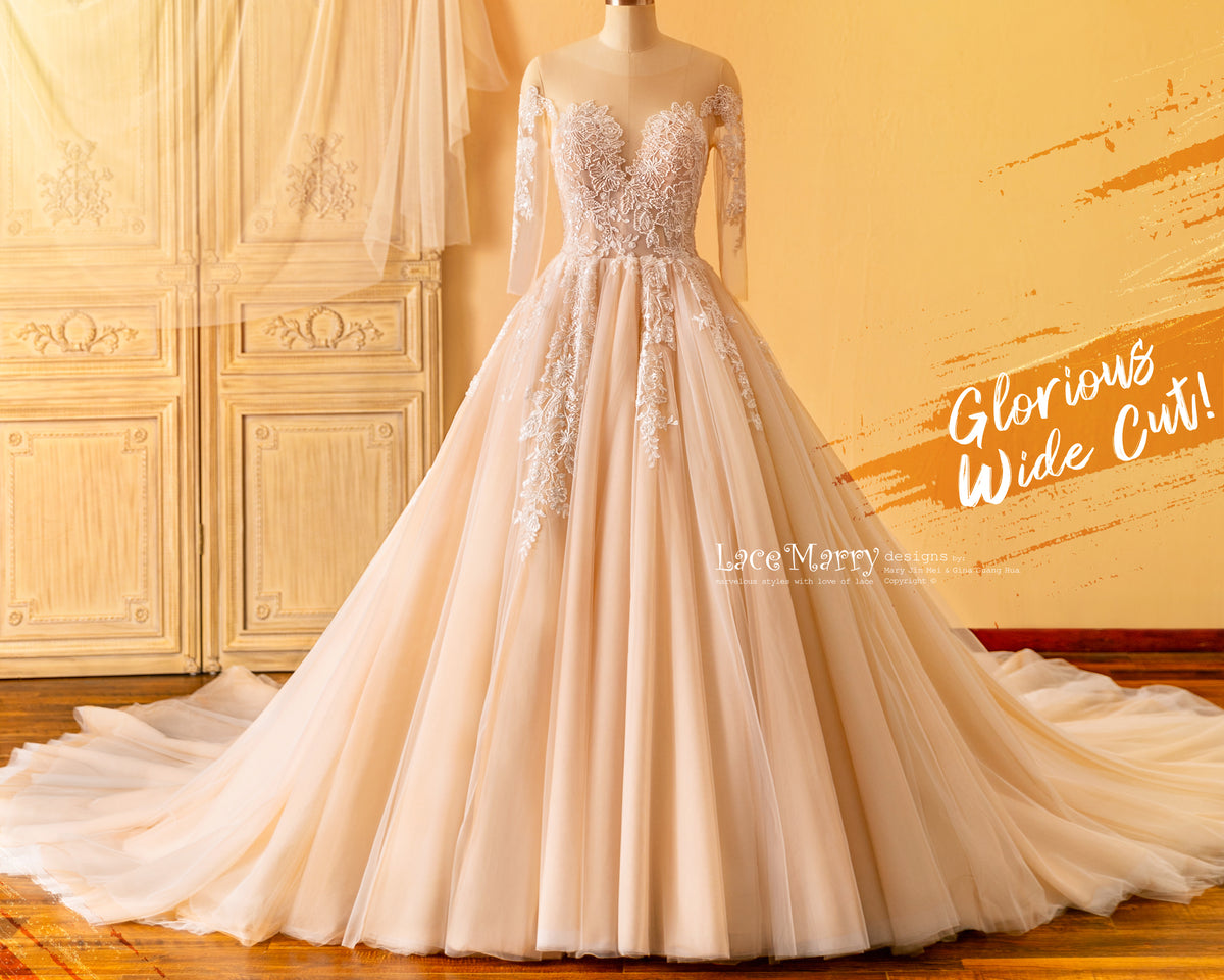 Wide A Line Wedding Dress with Long Sleeves