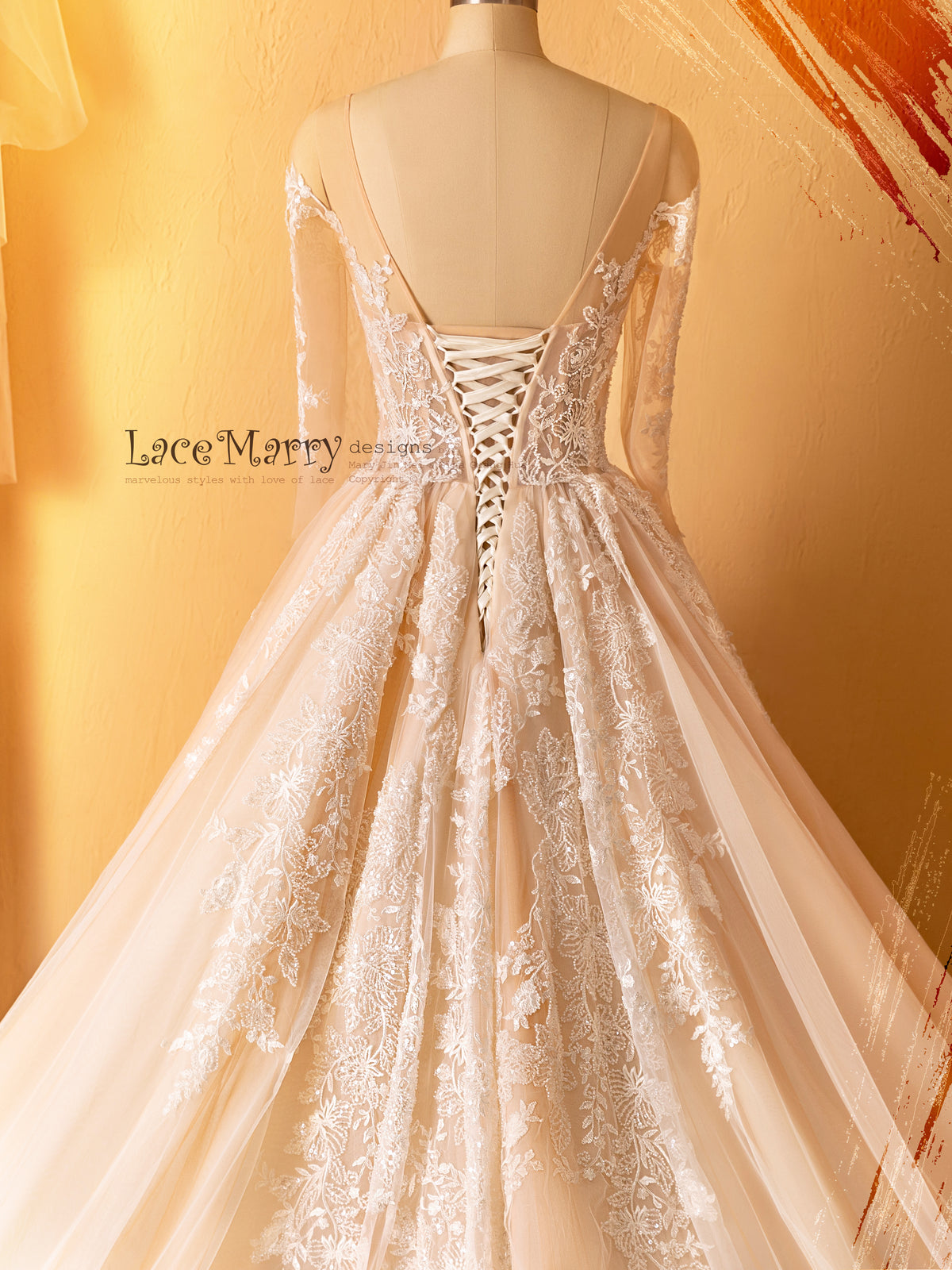 Lace up Back Wedding Gown with Long Lacy Sleeves