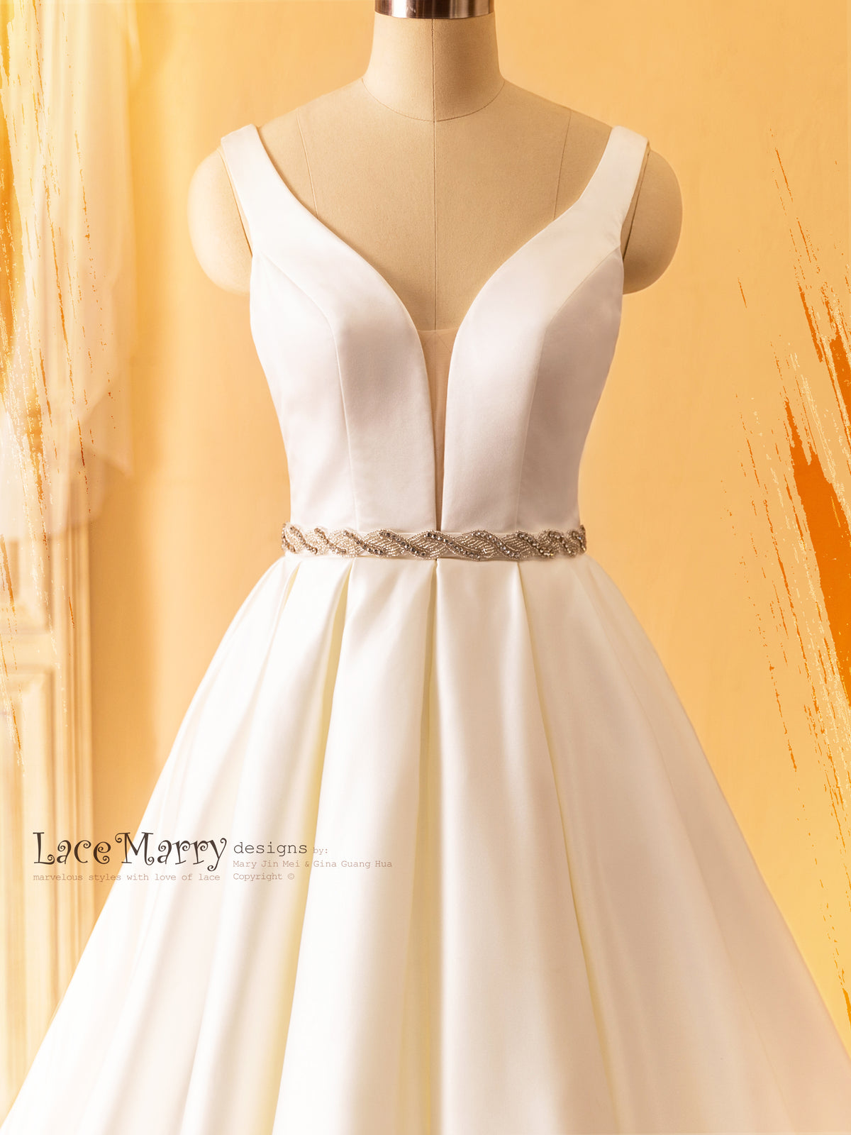 Plunge Neckline Wedding Dress in Plain Design