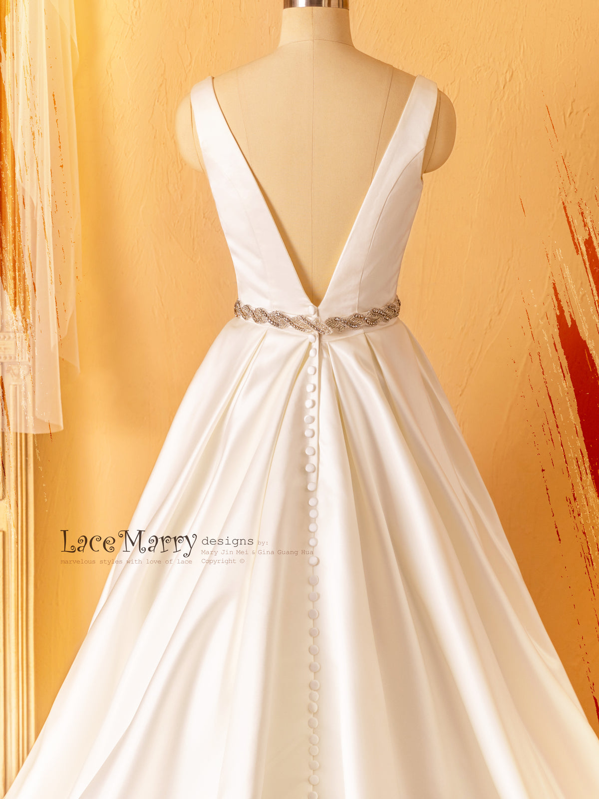 V Back Satin Wedding Dress