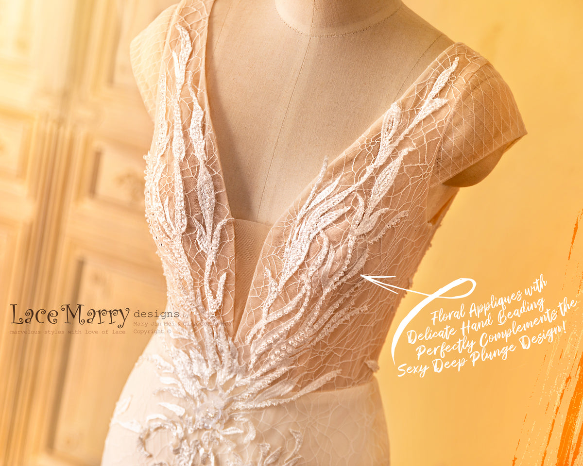 Deep Neck Sexy Wedding Dress in Nude Color