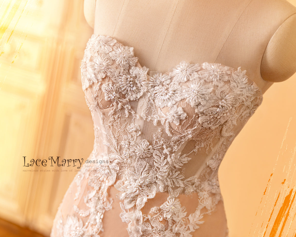 Strapless Wedding Dress with 3D Flower Appliques