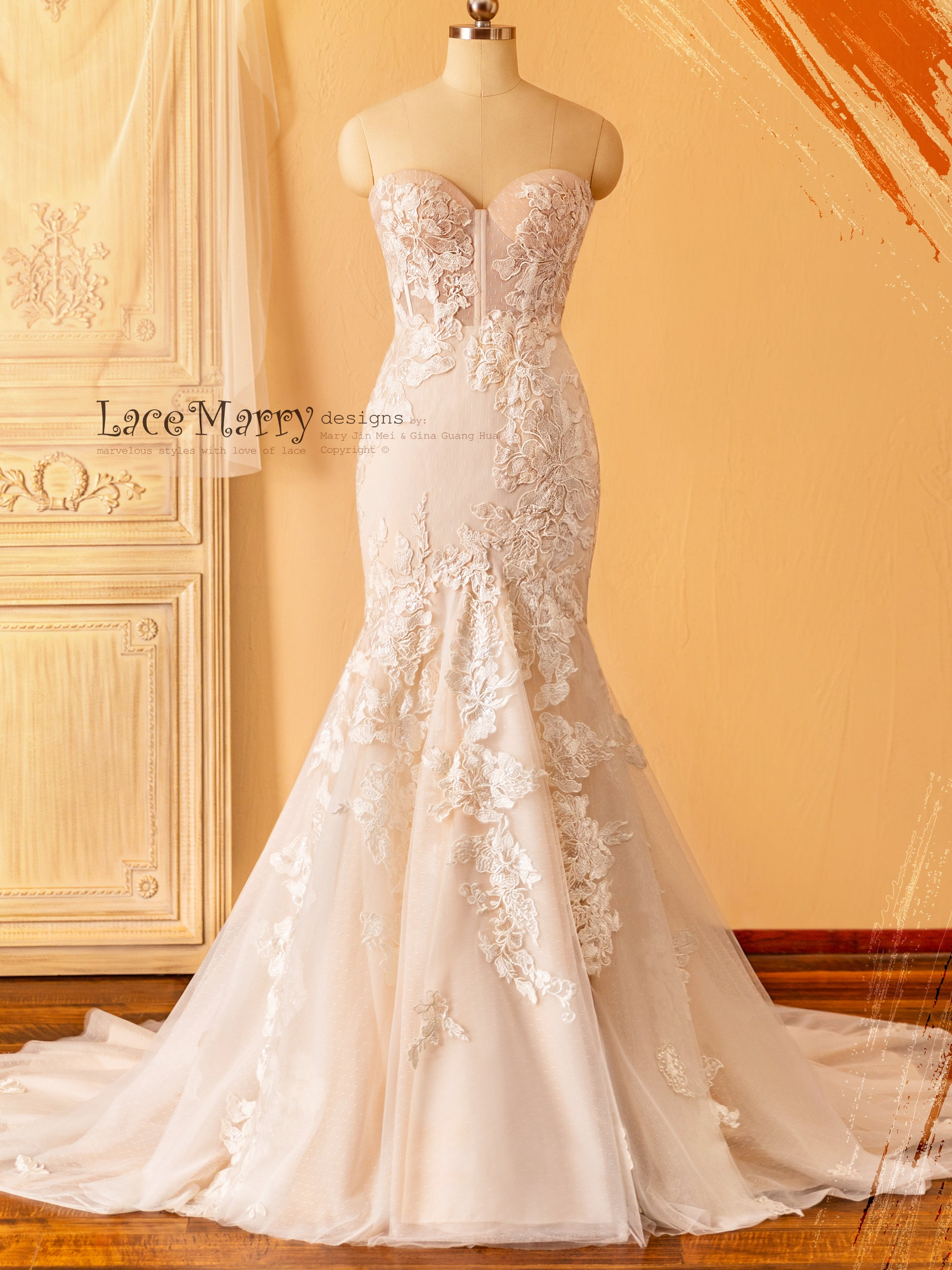 Gorgeous Fitted Wedding Dress with Large Flower Appliques
