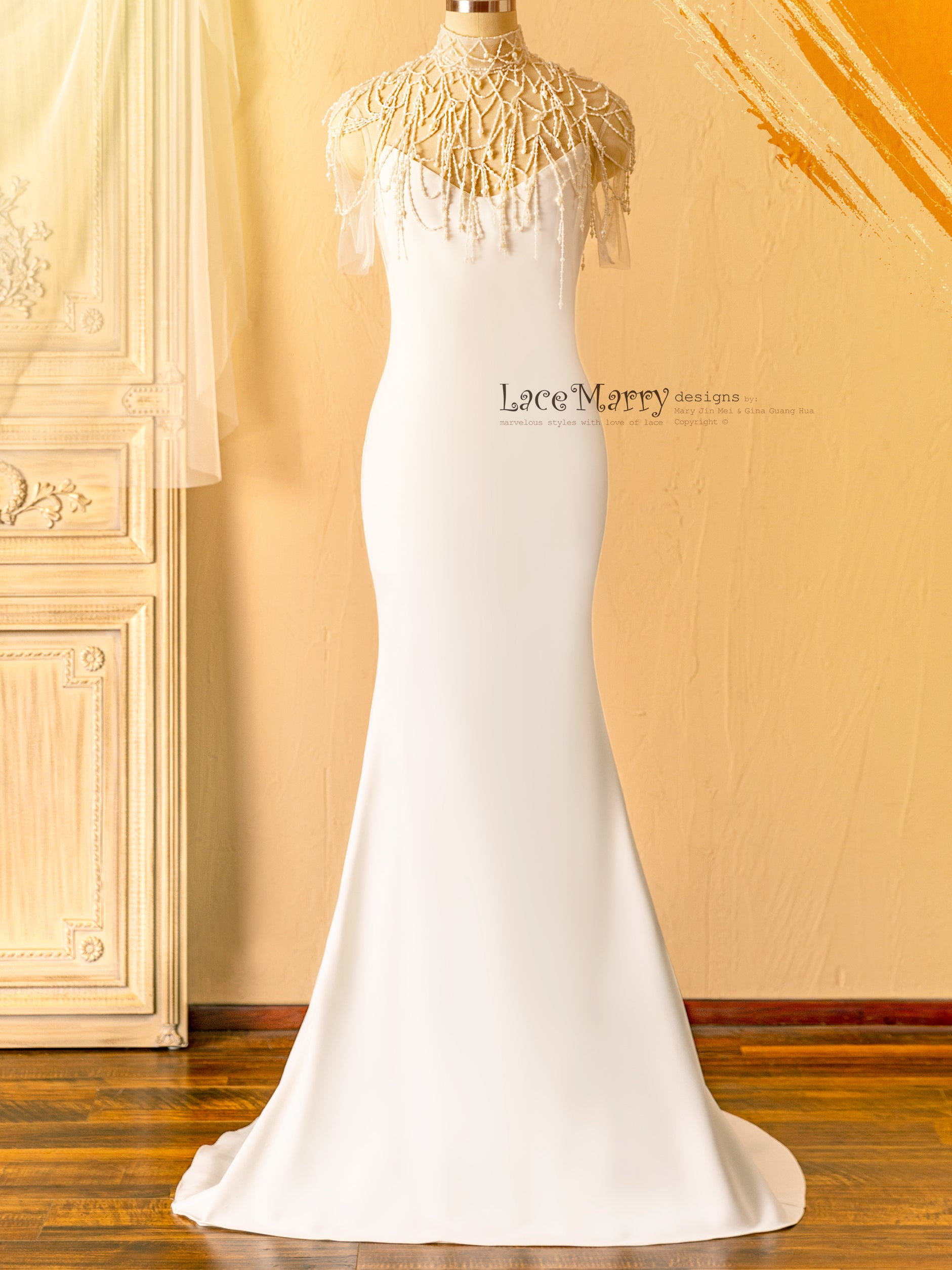 Simple and Elegant Fitted Wedding Dress with Beading Detail