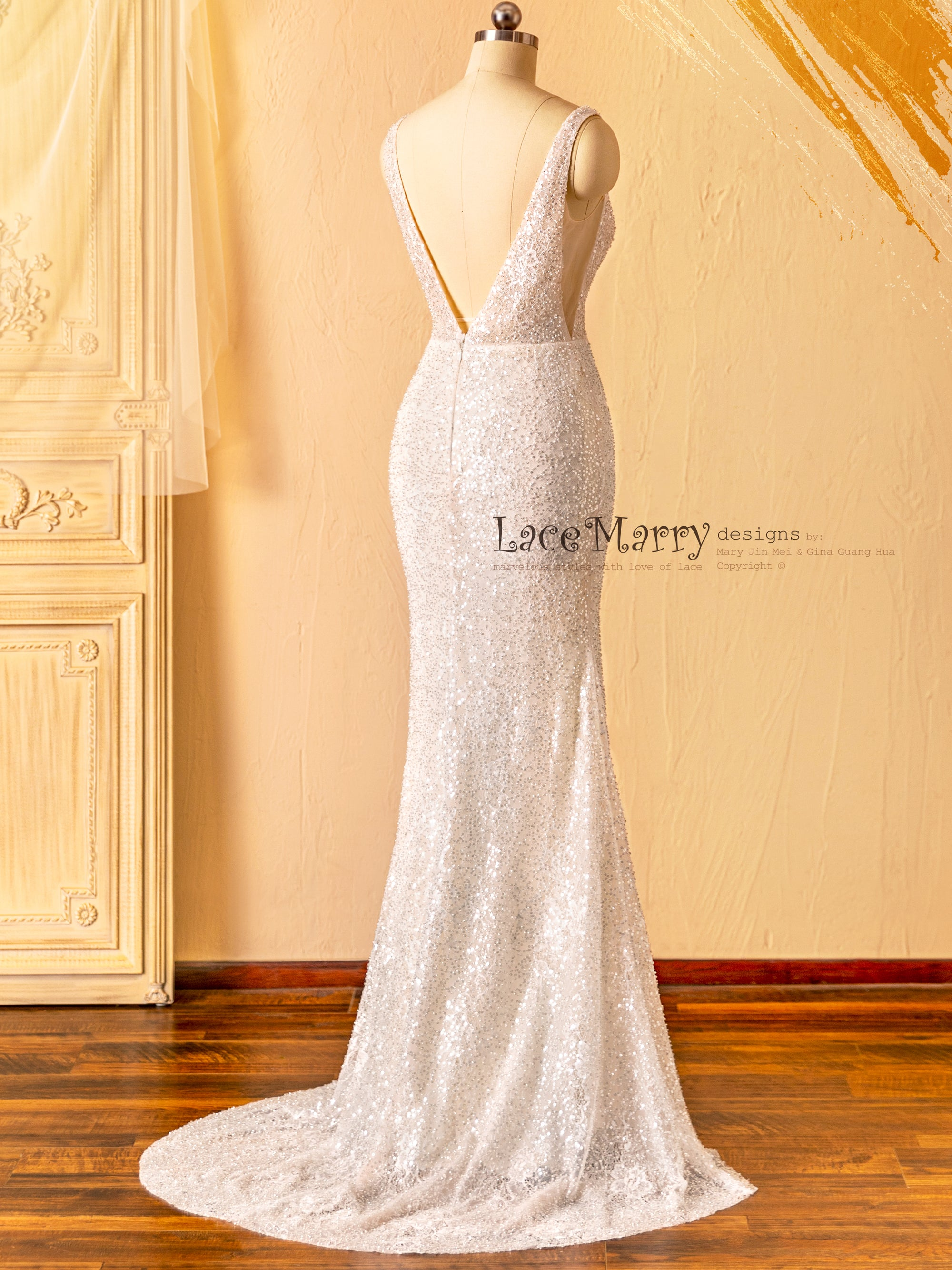 Illusion Wedding Dress with Sparkling Fabric