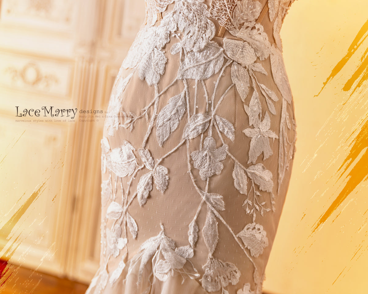 Fitted Wedding Dress in Dark Champagne Color