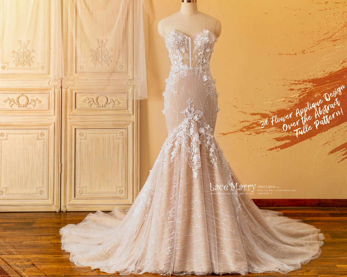 Fitted Wedding Dress in Nude Color