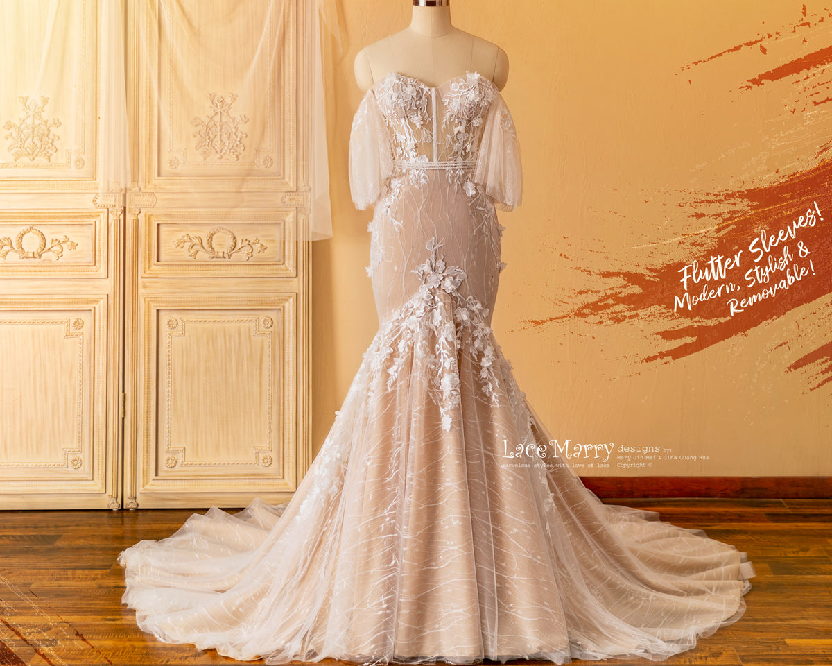 Mermaid Wedding Dress with Removable Flutter Sleeves