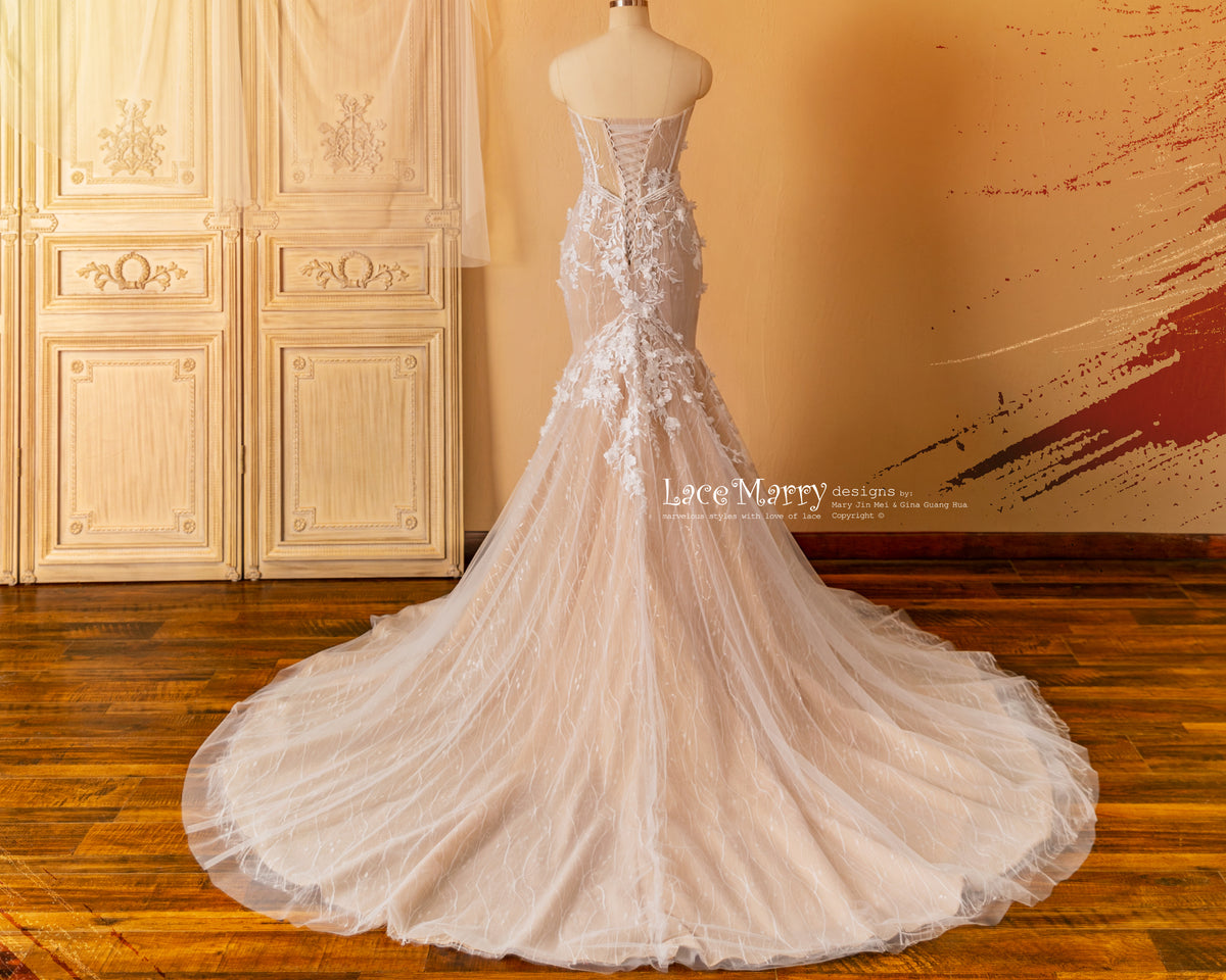 Corset Back Mermaid Wedding Dress with 3D Flower Appliques