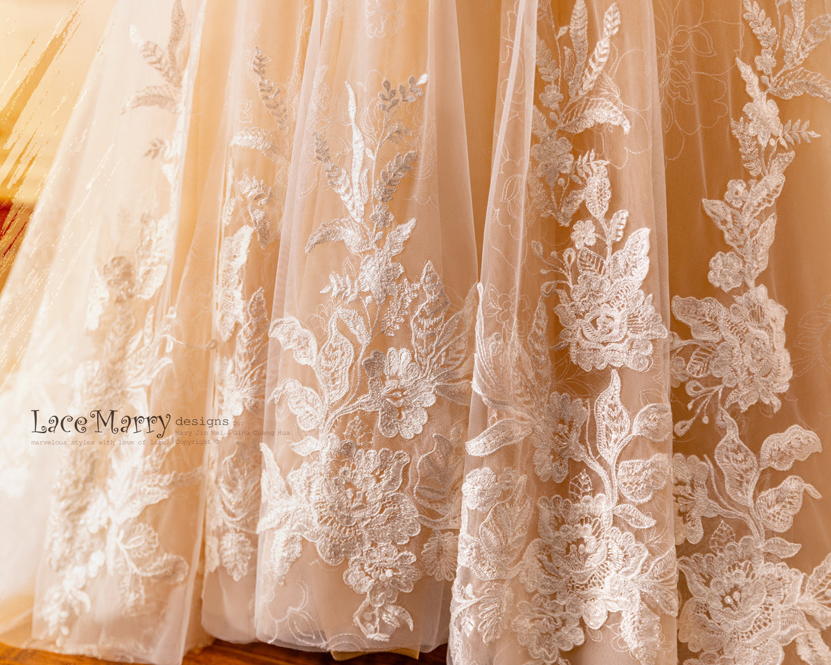 Lace and Embroidery Wedding Dress