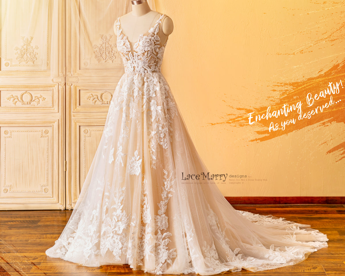 Enchanting Wedding Dress in Champagne Color