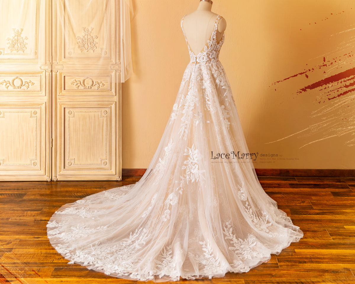 A Line Wedding Dress with Lace Train