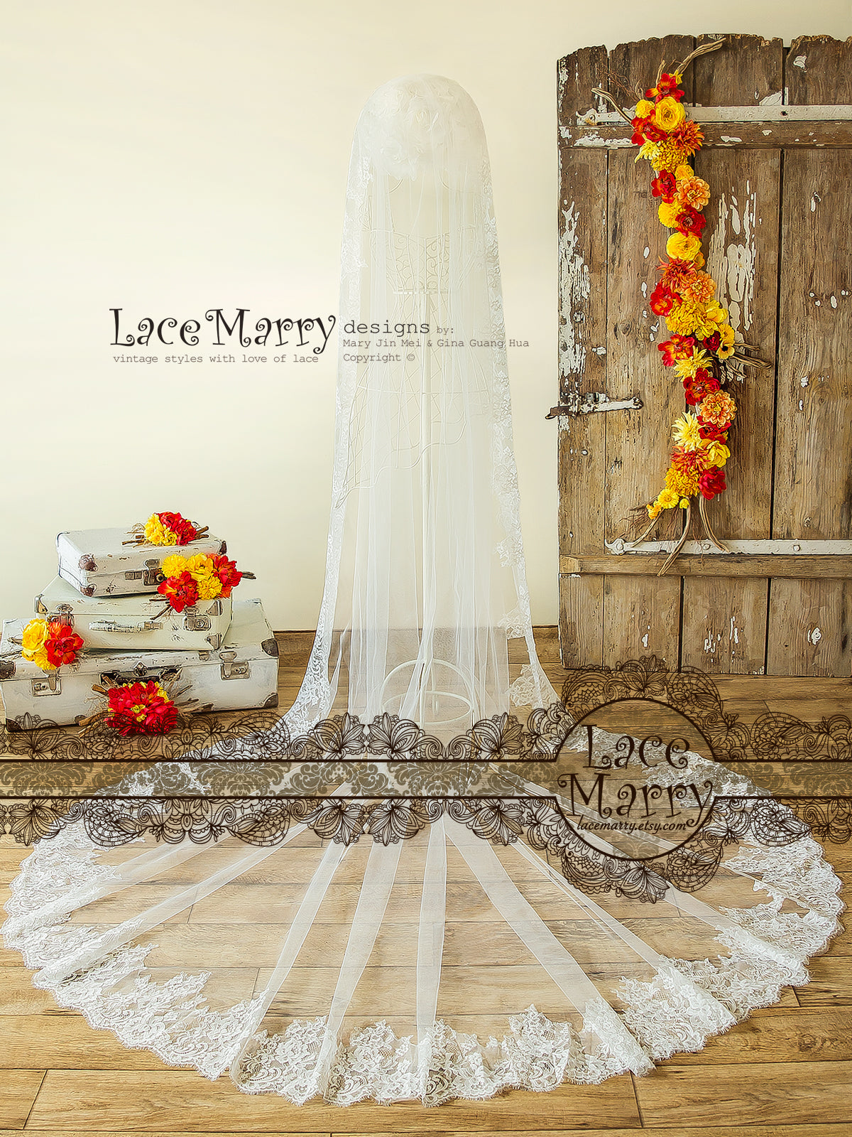 Long Veil with Lace Edge