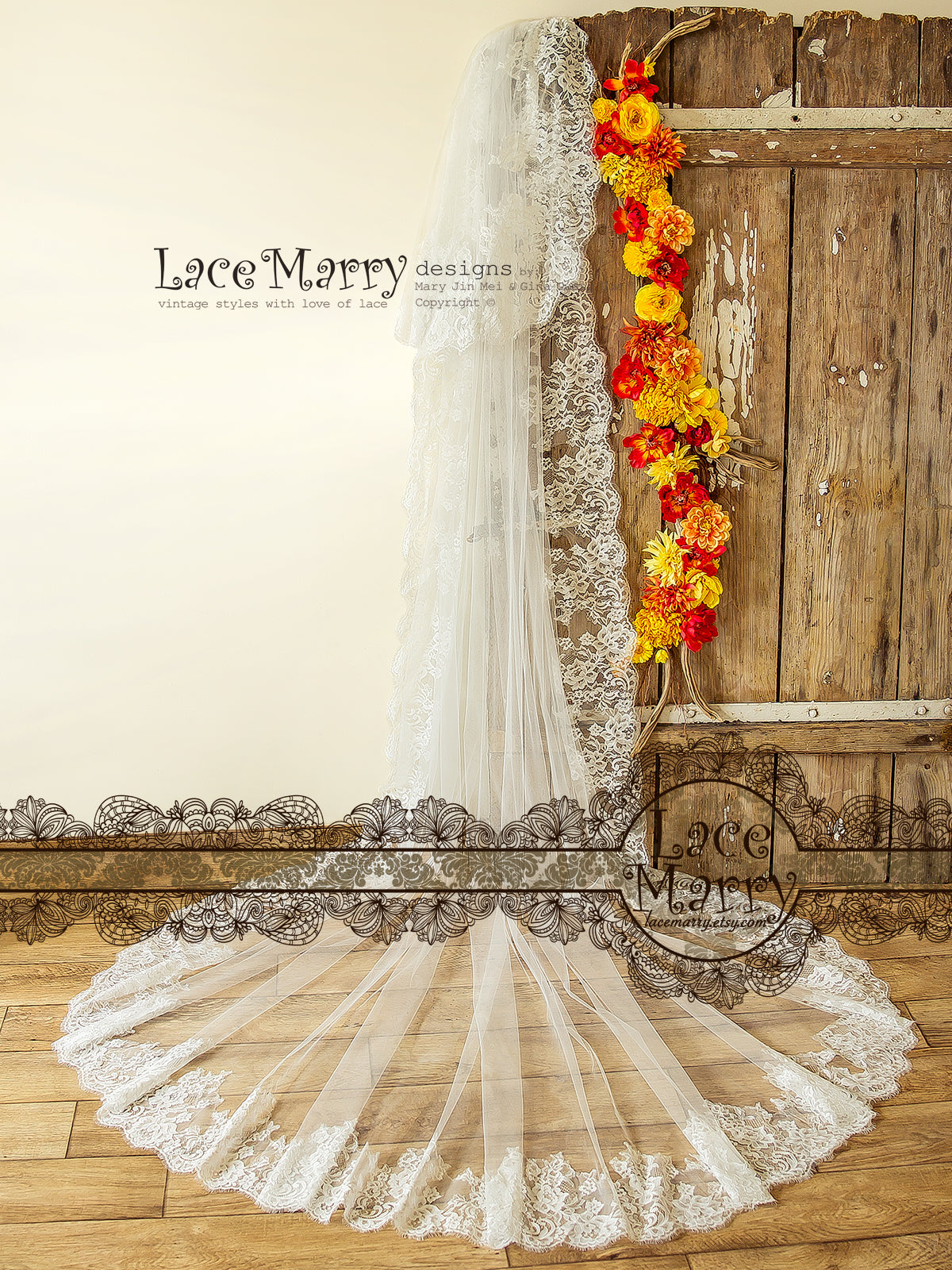 Long Chantilly Lace Veil