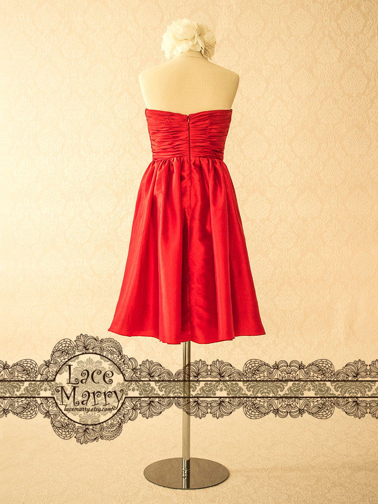 Red Taffeta Bridesmaid Dress