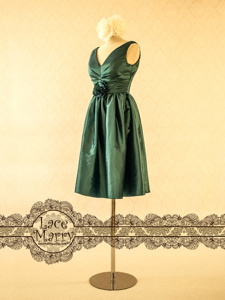 Taffeta Bridesmaids Dress in Green Blue Color