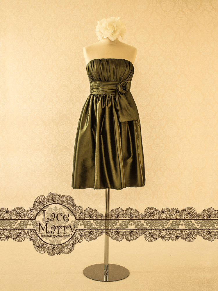 Olive Bridesmaid Dress in Taffeta