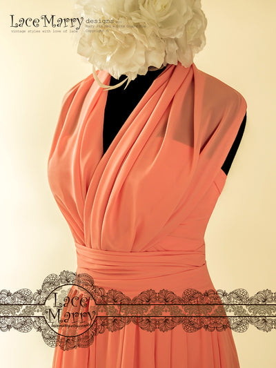 Coral Color Sweetheart Neckline Bridesmaid Dress