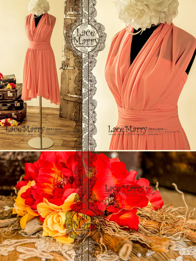 Coral Color Infinity Bridesmaid Dress