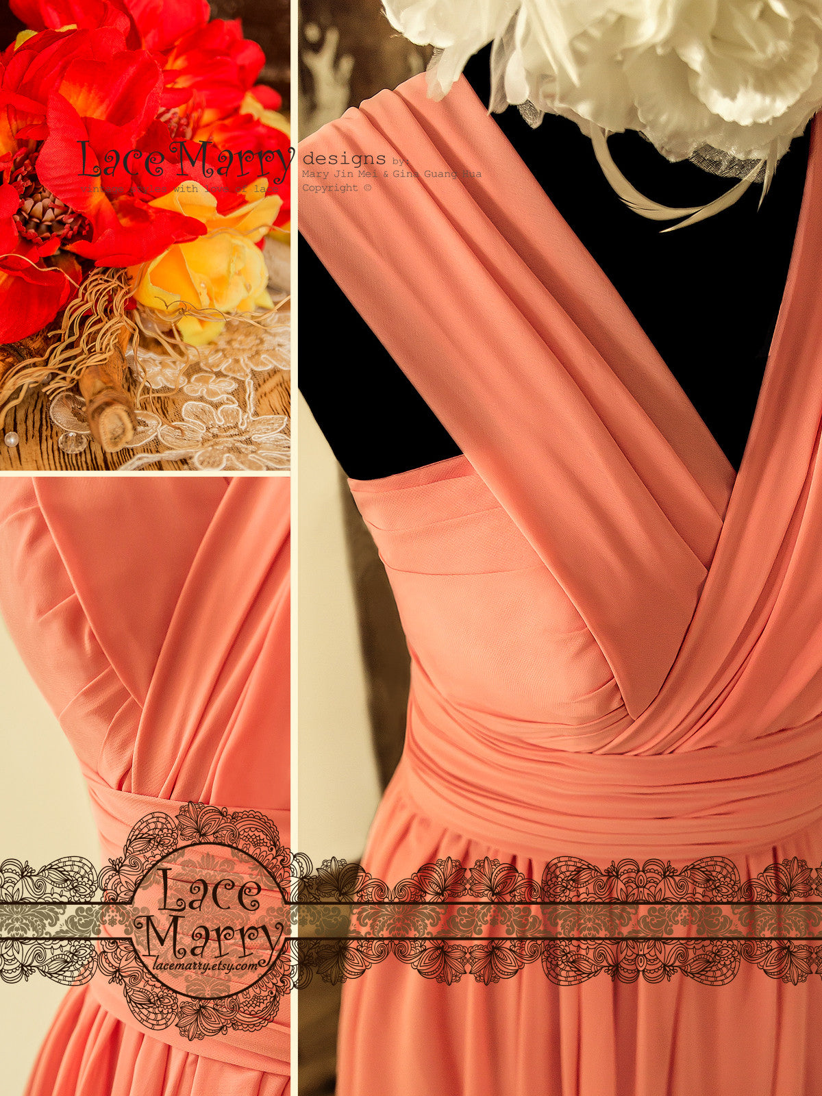 Coral Multiway Short Prom Dress