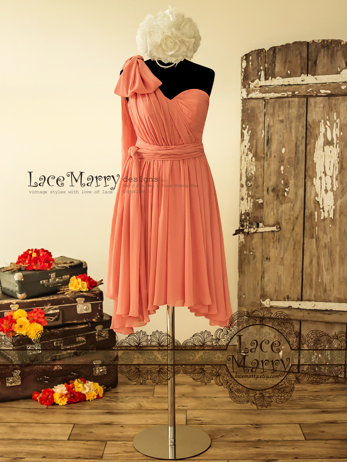 Convertible Short Chiffon Bridesmaid Dress