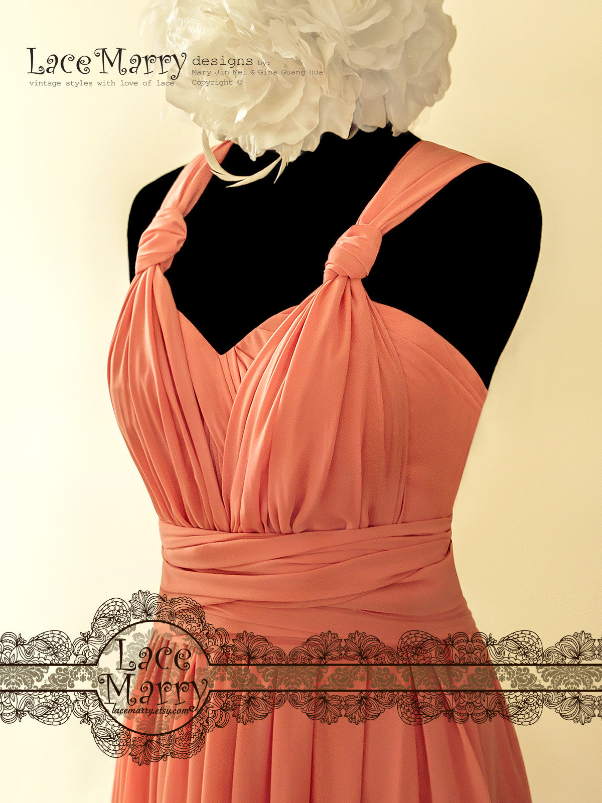 Infinity Bridesmaid Dress in Coral Color