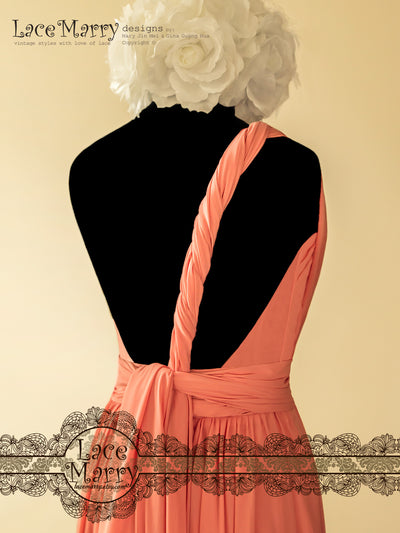 Open Back Short Coral Color Infinity Dress