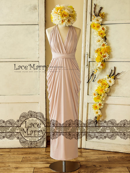 Nude Blush Long Convertible Bridesmaid Dress