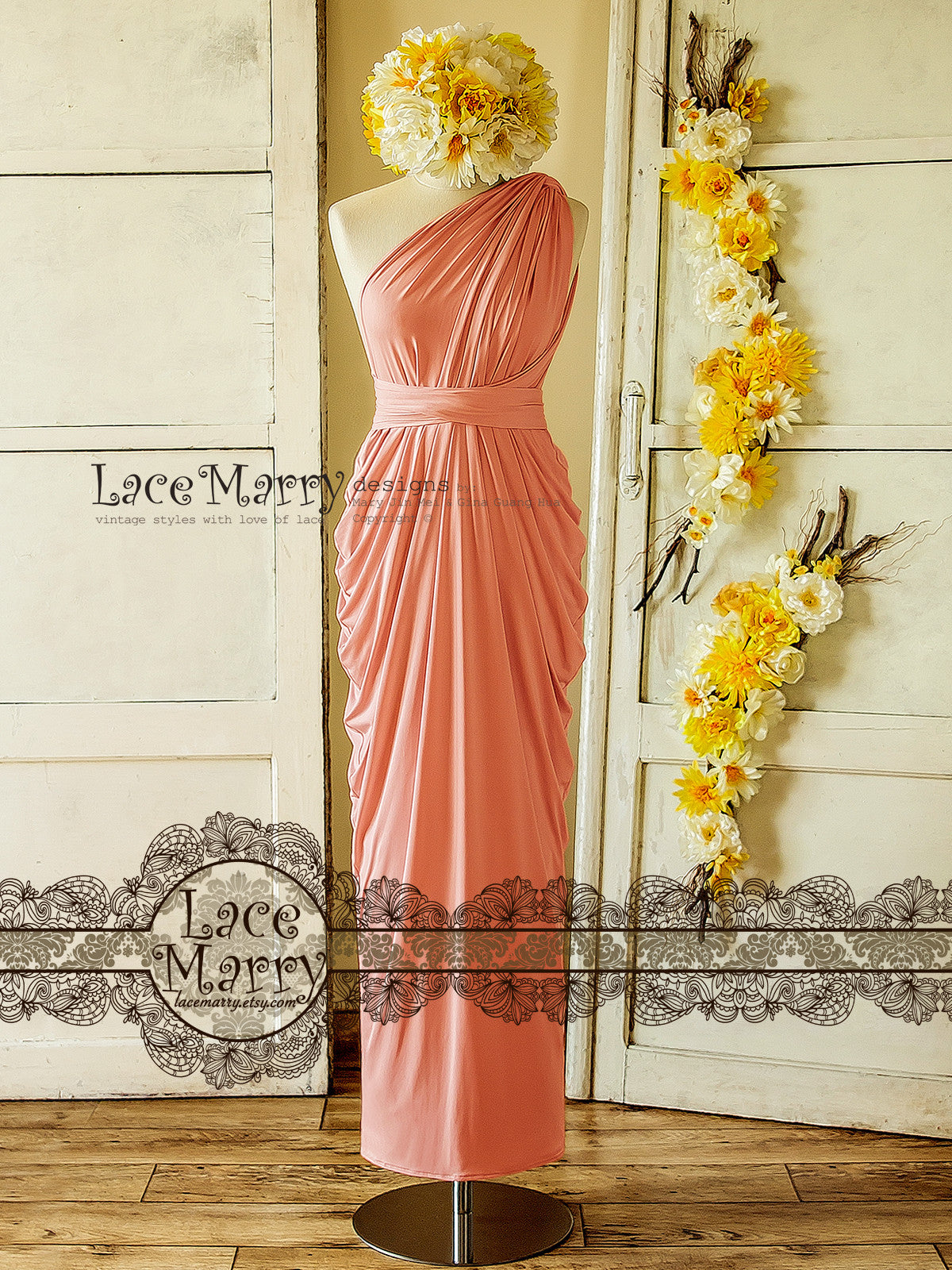 Blush Pink Convertible Bridesmaid Dress with Twist Wrap Top