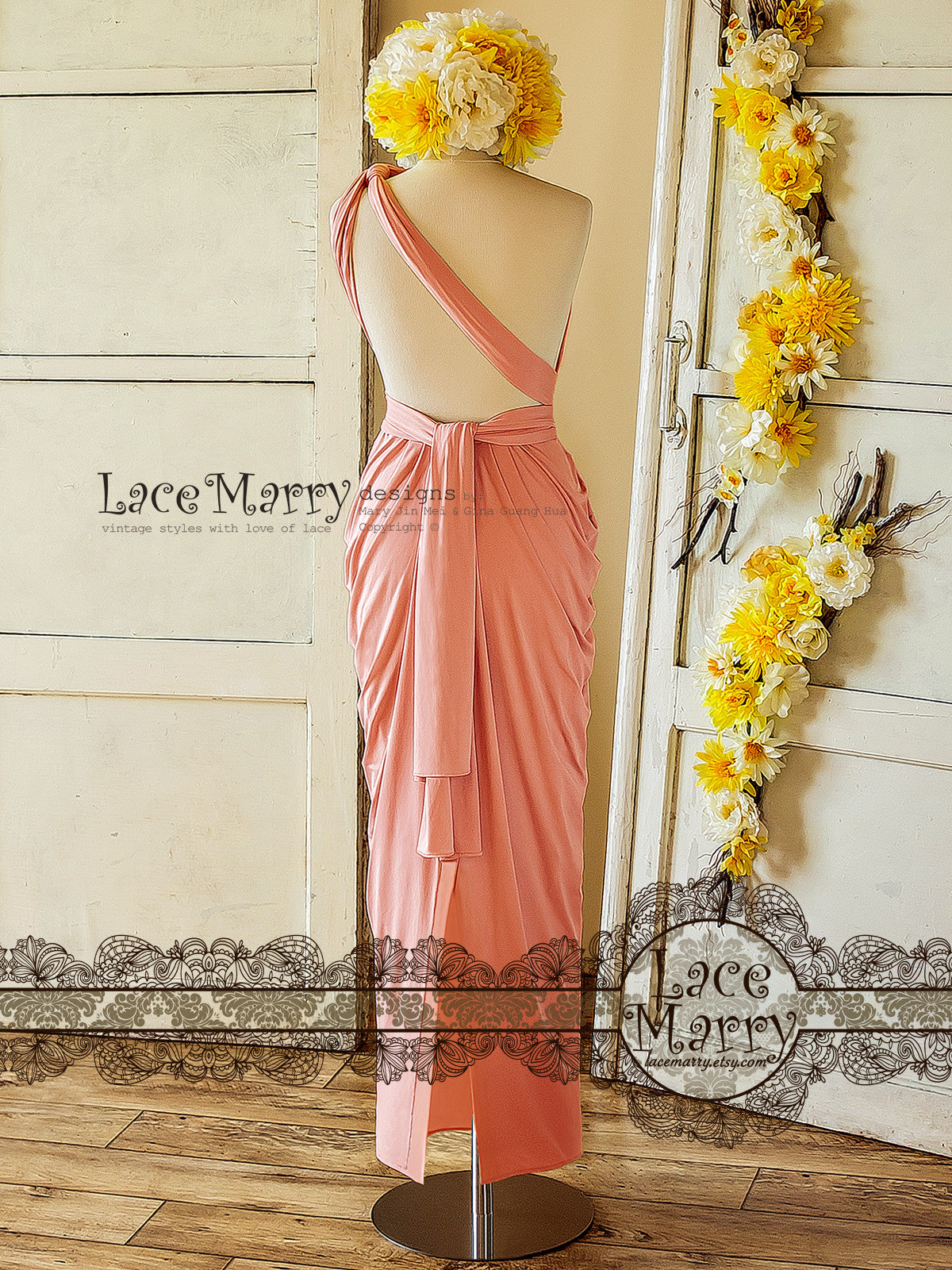 Maxi Blush Pink Prom Dress with Convertible Straps