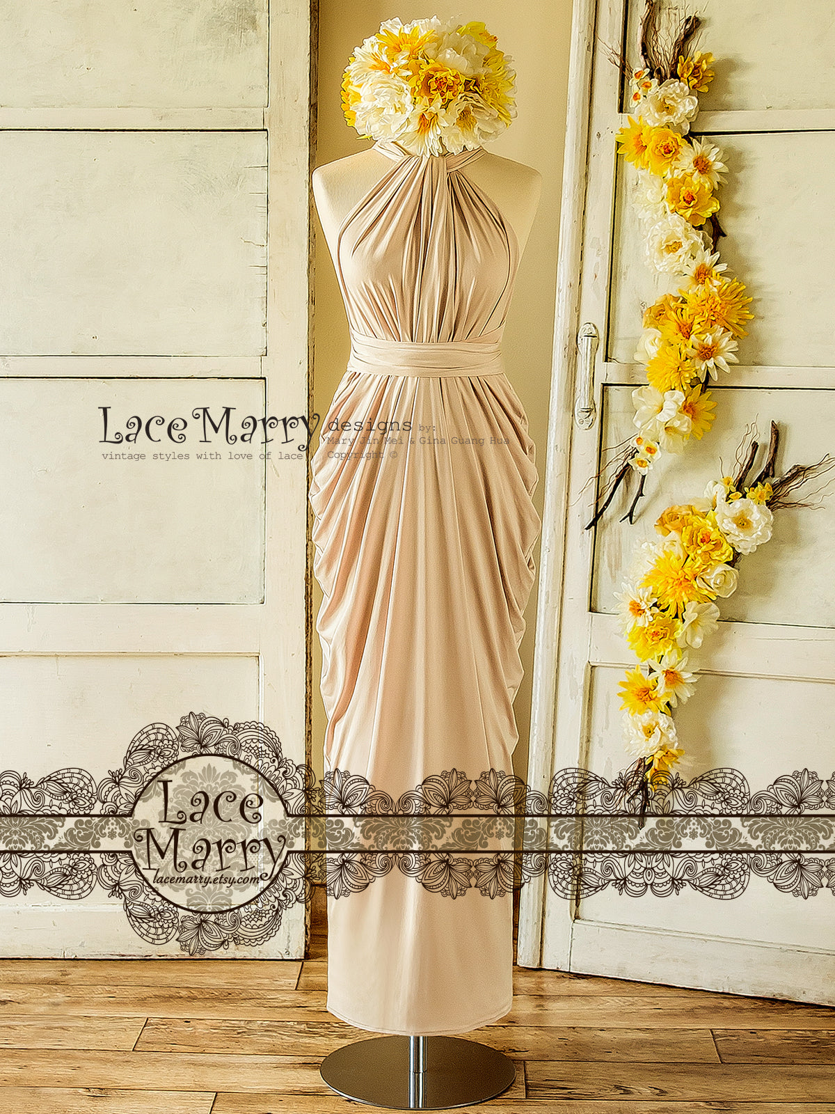 Sand Champagne Infinity Top Bridesmaid Dress