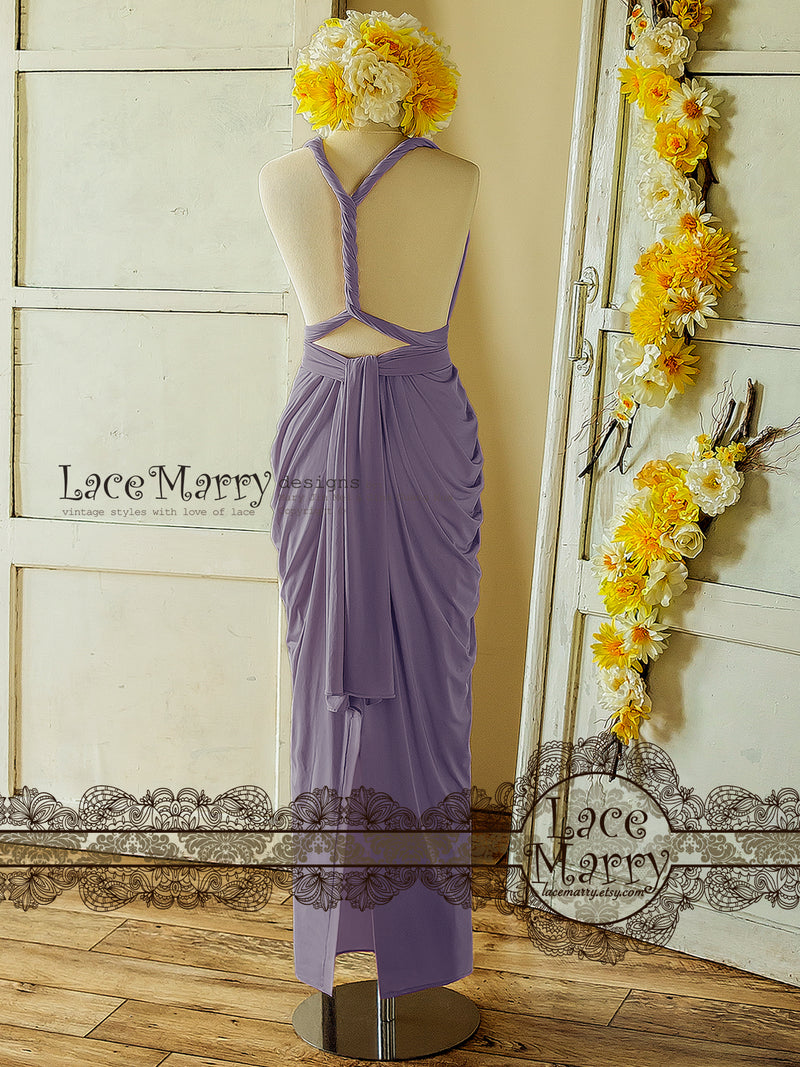 Purple Infinity Bridesmaid Dress with Long Straps