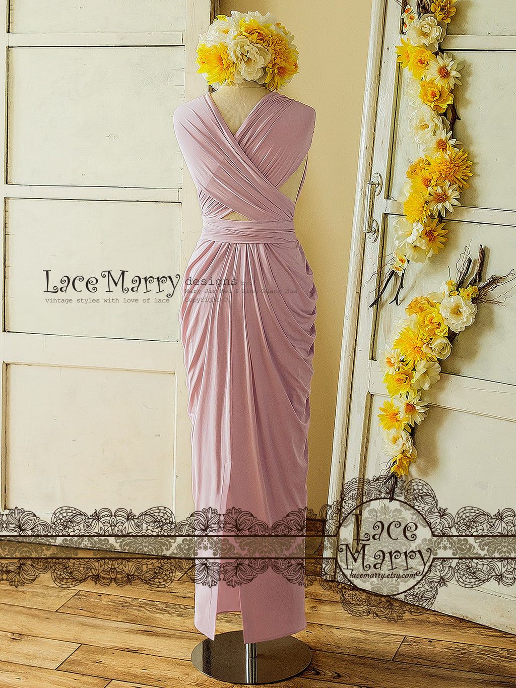 Lavander Pink Long Convertible Bridesmaid Dress