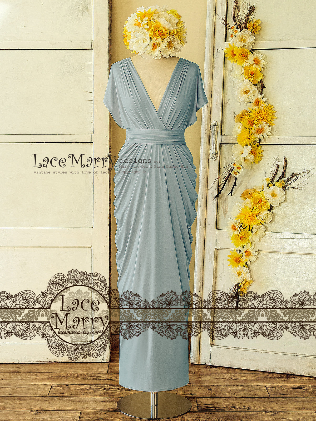 Powder Blue Infinity Bridesmaid Dress with Greek Style Skirt