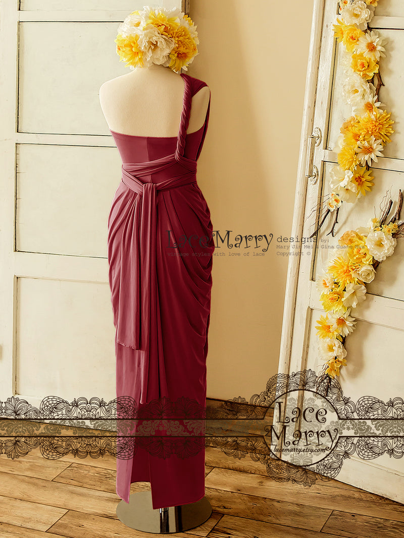 Marsala Red Infinity Bridesmaid Dress in Floor Length